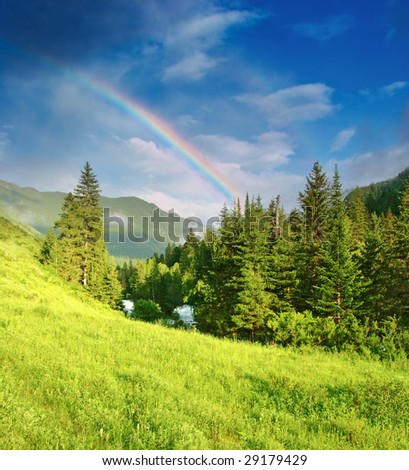 Mountain landscape with forest and rainbow - stock photo