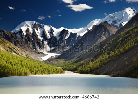 Mountain landscape with lake and blue sky - stock photo