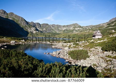 Mountain landscape with lake in Tatra mountain national park, Poland.