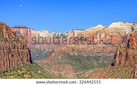 Mountain landscape with moon in Zion National Park, Utah, USA. - stock photo