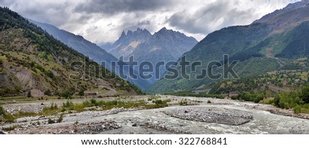 mountain landscape with mountain river Svaneti Georgia - stock photo