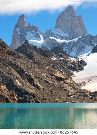 Mountain landscape with Mt Fitz Roy and Laguna de Los Tres in Los Glaciares National Park, Patagonia, Argentina, South America - stock photo