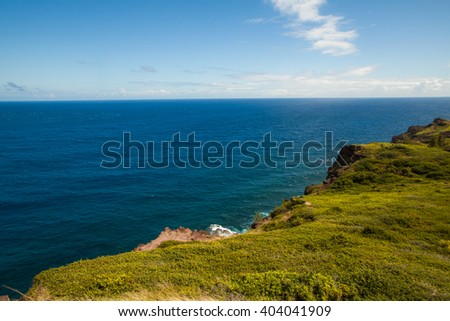 Mountain landscape with pacific ocean in the background, island Maui, Hawaii. Composition of natural background, bright green grass and blue sky with clouds. - stock photo