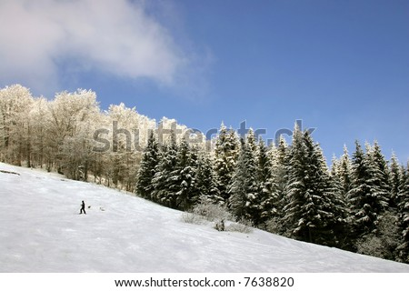 Mountain landscape with skier - stock photo
