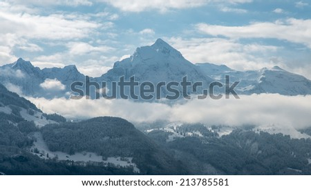 Mountain landscape with snow and blue sky, Alps alpine, Switzerland - stock photo