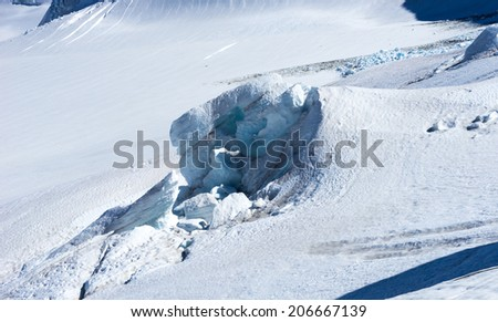 Mountain landscape with snow and clear blue sky