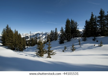 Mountain landscape with snow, Areches, Savoie, France