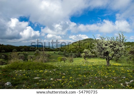 Mountain landscape with view of dramatic sky - stock photo