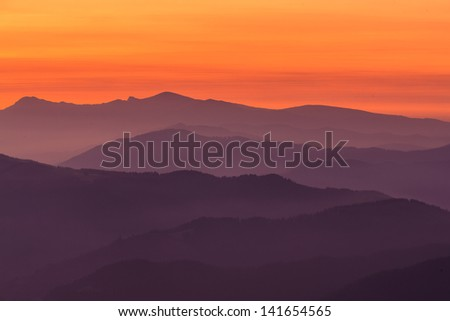 Mountain layers, Encartaciones, Bizkaia, Spain - stock photo