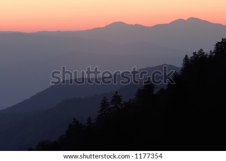 Mountain layers painted in the light of sunrise - Smoky Mountains Nat. Park, USA.