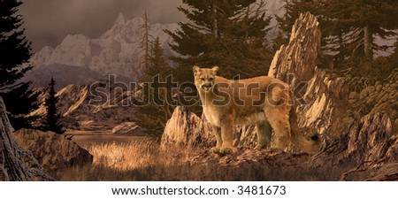 Mountain Lion / An original 10x22 painting by Larry Jacobsen of a cougar in the Colorado Rockies. / SW-017 - stock photo