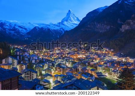 Mountain Matterhorn in Zermatt, Switzerland - stock photo