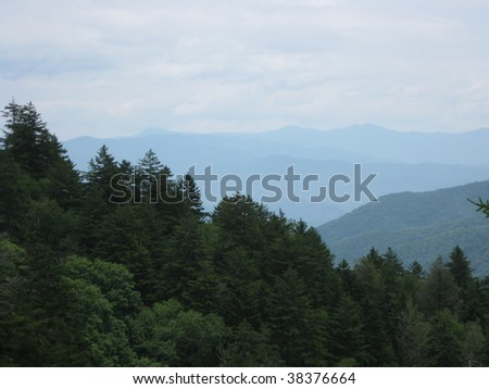 Mountain mist rolling over the Great Smoky Mountains.