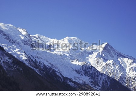 Mountain Mont Blanc view from Chamonix, France