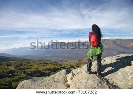 mountain of Gredos at Avila in Castilla Spain - stock photo