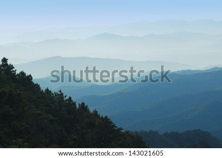 Mountain of rainforests in Asian continent (North of Thailand).