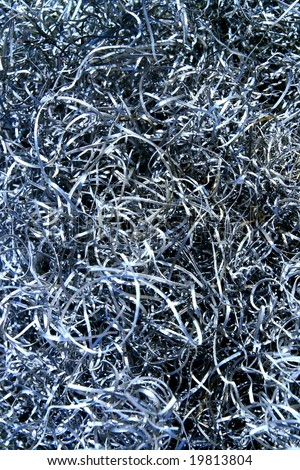 Mountain of the metallic swarf very closeup - swarf background - stock photo