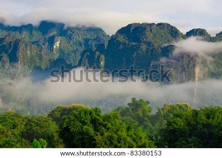 Mountain of Vang Vieng, Laos - stock photo