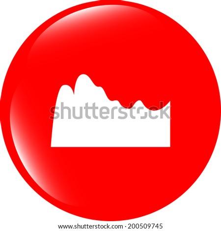 mountain on glossy web icon isolated on white background - stock photo