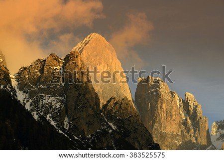 Mountain Pala di San Martino at sunset, Dolomite mountains - Italy, Europe, UNESCO World Heritage Site - stock photo