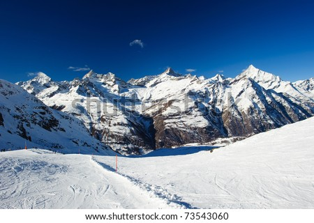 mountain panorama at zermatt with dent blance, obergabelhorn, zinalrothorn and weisshorn, valais, switzerland - stock photo