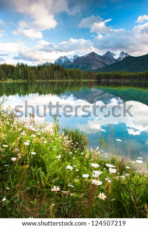 Mountain panorama from Herbert Lake at the icefield parkway in Banff National Park, Alberta, Canada - stock photo