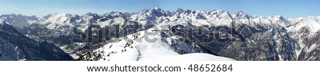 Mountain panorama from Montgenevre - France - stock photo