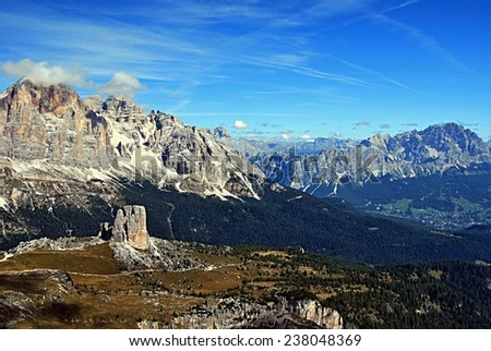 mountain panorama from Nuvolau: from left to right: Tofane group, Gr.Defenhorn peak,Rondoi-Baranci group, Cristallo group - stock photo