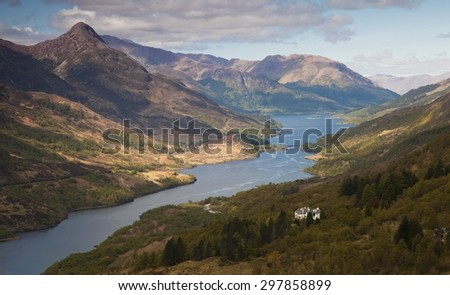 Mountain Panorama from the Scottish Highlands - stock photo