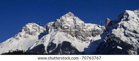 Mountain panorama in the Alps in winter