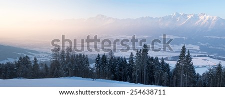 Mountain panorama in the Alps with Karwendel Mountains - stock photo