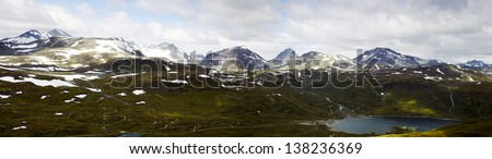 Mountain Panorama (Norway), Panorama of the Jotunheimen NP in Norway. View from the top of a mountain at all summits of the mountains. Panoramic composition of 4 images.