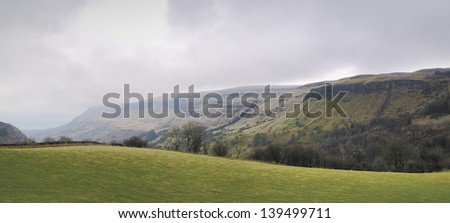 Mountain panorama of the Glenariff forest park. Early spring at North Ireland, UK - stock photo