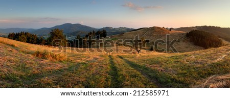 Mountain panorama over Banska Stiavnica - stock photo