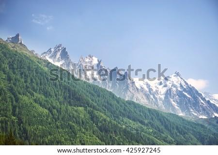 Mountain panorama - summer season - stock photo