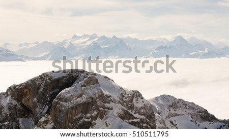 Mountain panorama switzerland - Mountainscape from swiss mountain Pilatus in lucerne Switzerland in the winter seasons