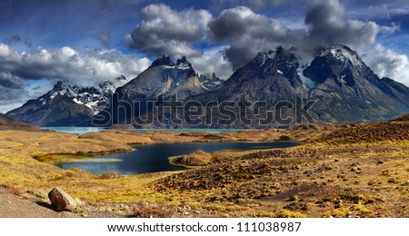 Mountain panorama, Torres del Paine National Park, Patagonia, Chile