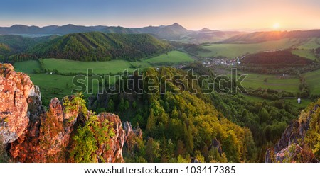 Mountain panorama with sun - stock photo