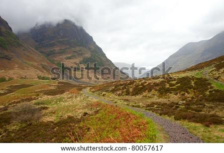 Mountain pass in spring, Glen Coe, Scottish Highlands,  UK.  - stock photo