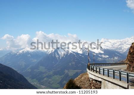 "Mountain pass ""Jaufenpass"" in the Italian Alps, in South Tyrol, near the Austrian border. - stock photo"