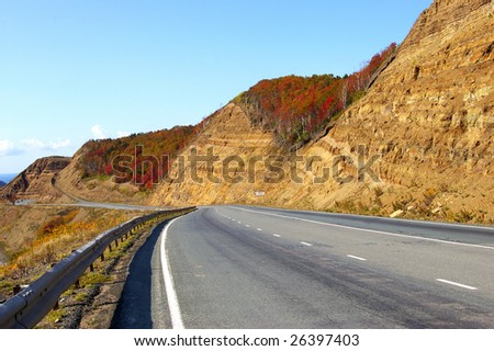 Mountain  pass Kholmskiy on island Sakhalin by autumn. - stock photo