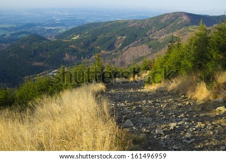 Mountain path from Lysa Hora summit, Beskydy, Czech republic, Europe - stock photo
