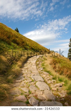 Mountain path in Karpacz, Poland - stock photo
