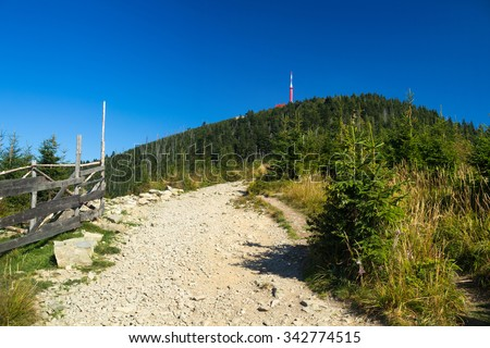 Mountain path to Lysa Hora summit, Beskydy, Czech republic, Europe