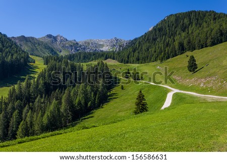 Mountain paths and majestic views of the Dolomites - Italy. - stock photo