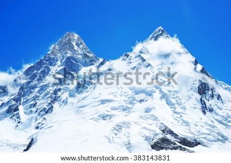 Mountain peak  Everest. National Park, Nepal. - stock photo