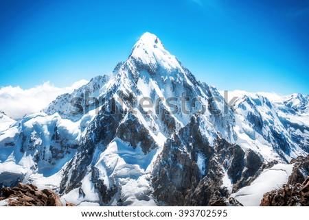 Mountain peak. Everest. National Park, Nepal. - stock photo