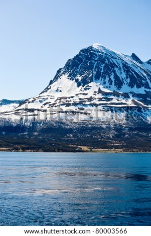 Mountain peak in coast landscape - stock photo