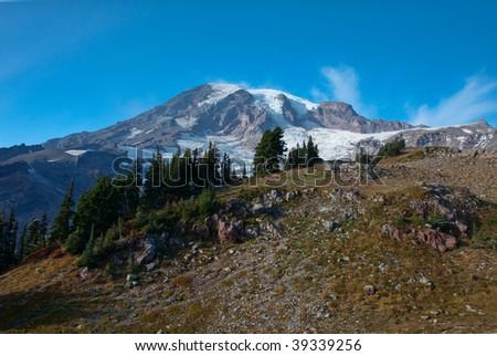 Mountain Peak in Late Fall - stock photo
