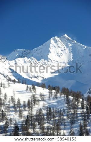 Mountain Peak in Oberwald, Switzerland - stock photo